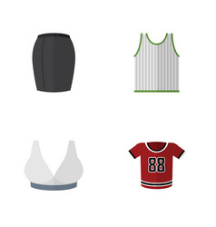 Flat icon garment set of stylish apparel vector