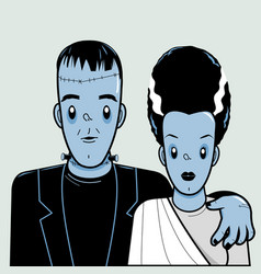 Frankenstein and his bride vector