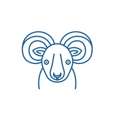 funny ibex line icon concept funny ibex flat vector image