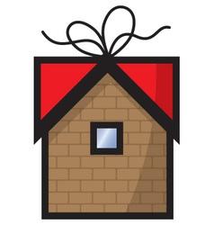 Gift home icon vector