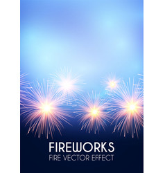 gold shining fireworks in soft blue sky vector image