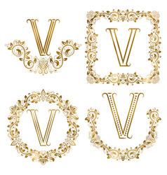 golden v letter ornamental monograms set heraldic vector image