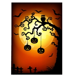 Halloween tree with jack-o-lantern vector