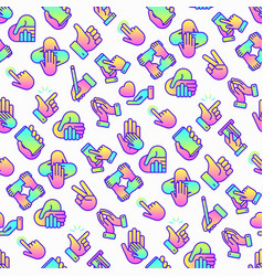 hands gestures seamless pattern vector image