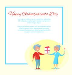 happy grandparents day senior couple give present vector image