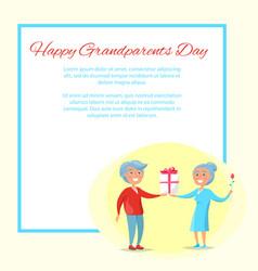 Happy grandparents day senior couple give present vector