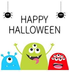 happy halloween three monster silhouette set head vector image