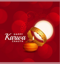 happy karwa chauth beautiful red background with vector image