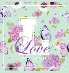 hydrangea flowers and butterflies t-shirt design vector image