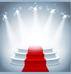 Illuminated stage podium red carpet award ceremony vector image