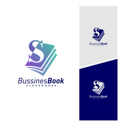Initial s with book logo design template book vector
