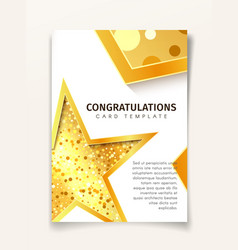 invitation greeting card template golden textured vector image