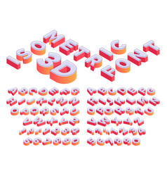 isometric 3d lettering perspective letters font vector image