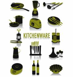 Kitchenware silhouettes vector