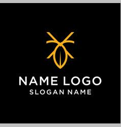 latter x leaf logo vector image