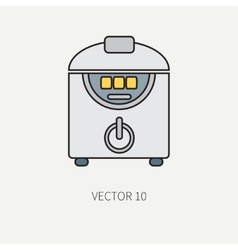 Line color kitchenware icons - double vector