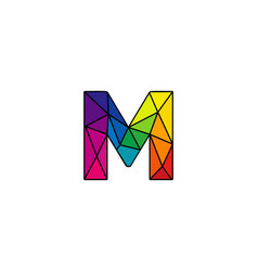 M colorful low poly letter logo icon design vector
