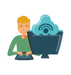 man with desktop computer and cloud computing vector image