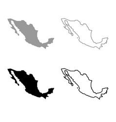 map of mexico icon outline set grey black color vector image