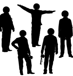 Military pilot silhouettes vector