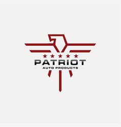 Minimalist lineart patriotic eagle logo icon vector