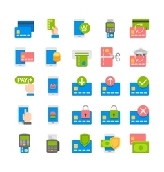 Mobile payment banking flat icons vector image