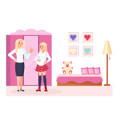 mother scold to pregnant daughter teeneger vector image
