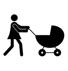 mother with pram icon vector image