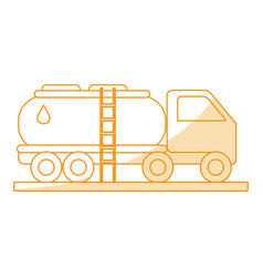 Orange silhouette shading truck transporter of vector