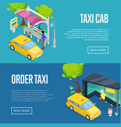 order taxi isometric 3d posters vector image