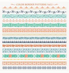 ornamental border frame color patterns set 3 vector image