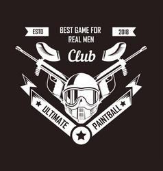 Paintball club logo template of pint ball gun vector