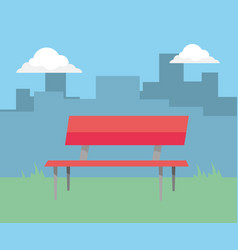 park bench cartoon vector image