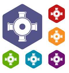 Pipe fitting icons set hexagon vector