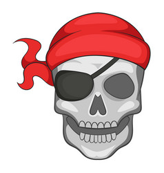 pirate skull in bandane icon cartoon style vector image