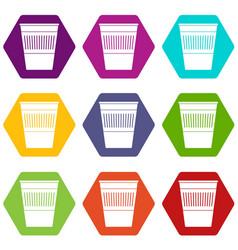 plastic office waste bin icon set color hexahedron vector image