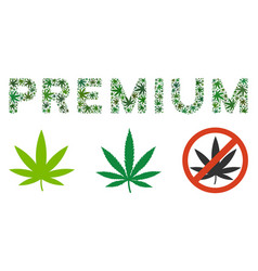 Premium text composition of weed leaves vector