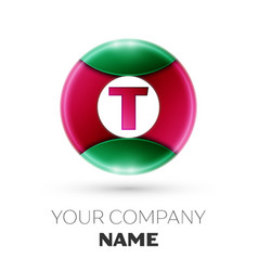 Realistic letter t logo in colorful circle vector