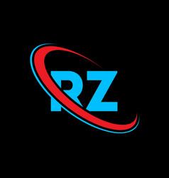rz r z letter logo design initial letter rz vector image