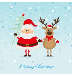 Santa Claus with Christmas tree and reindeer vector image