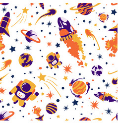 seamless background with spaceships and stars vector image