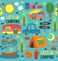 seamless pattern with summer camping vector image