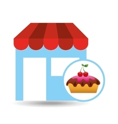 selling fresh cake vector image
