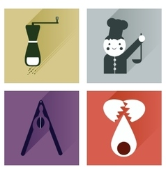 Set flat icons with long shadow chefs tools vector