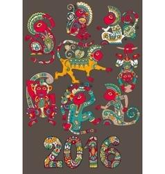 set of different colors decorative monkey vector image