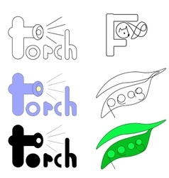 Set of logos for words torch fox and peas vector