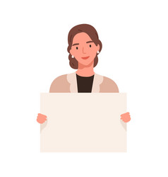 Smiling lady carrying a blank placard with a place vector