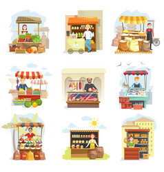 Street vendor booth and farm market food counters vector