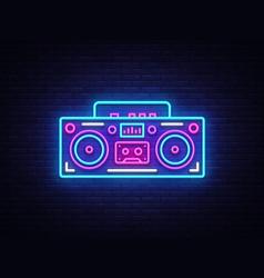 tape recorder neon signboard retro music vector image