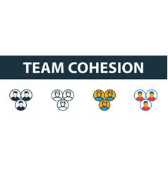 team cohesion icon set four elements in diferent vector image